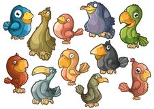 Mooie kleurrijke vogels. Geïsoleerde Royalty-vrije Stock Fotografie