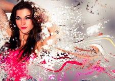 Mooie kleurrijke vrouw Stock Foto