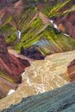 Mooie kleurrijke vulkanische bergen Landmannalaugar in IJsland Royalty-vrije Stock Afbeeldingen