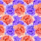 Mooie Kleurrijke Waterverf Rose Floral Seamless Pattern Background Elegante illustratie met roze en gele bloemen Stock Afbeeldingen