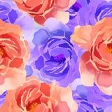 Mooie Kleurrijke Waterverf Rose Floral Seamless Pattern Background Elegante illustratie met roze en gele bloemen Royalty-vrije Stock Afbeelding