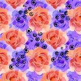 Mooie Kleurrijke Waterverf Rose Floral Seamless Pattern Background Elegante illustratie met roze en gele bloemen Royalty-vrije Stock Afbeeldingen