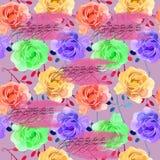 Mooie Kleurrijke Waterverf Rose Floral Seamless Pattern Background Elegante illustratie met roze en gele bloemen Stock Foto's