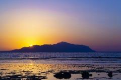Mooie kleurrijke zonsondergang over het Rode overzees Egypte stock afbeeldingen