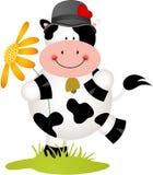 Mooie koe met bloem Stock Afbeeldingen