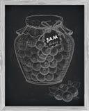 Mooie kruik eigengemaakte jam met bosbes Royalty-vrije Stock Foto's