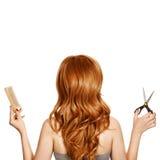 Mooie krullende haar en van de kapper hulpmiddelen royalty-vrije stock foto's