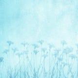 Mooie Kunst decoratieve bloemen blauwe achtergrond royalty-vrije stock afbeeldingen