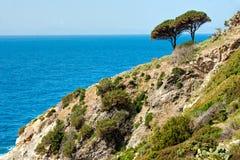 Mooie kustlijnen in Eiland van Elba. stock foto