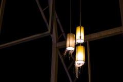 Mooie lamp van rieten bamboe Stock Foto
