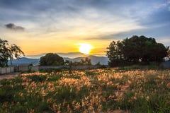 Mooie landschappen met zonsondergang en blauwe hemel Stock Afbeeldingen