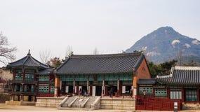 Mooie Landschapsbeelden bij Gyeongbok-Paleis Seoel, Zuid-Korea stock foto