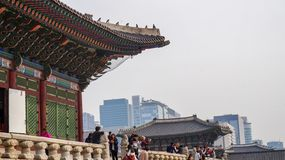 Mooie Landschapsbeelden bij Gyeongbok-Paleis Seoel, Zuid-Korea stock foto's