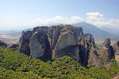 Mooie Landschapsmening van de verbazende bergen en de rotsen in Meteora, Griekenland stock fotografie