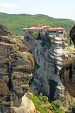 Mooie Landschapsmening van de verbazende kloosters op de bovenkant van bergen en rotsen in Meteora, Griekenland stock afbeelding