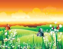 Mooie landschapsvector Stock Foto
