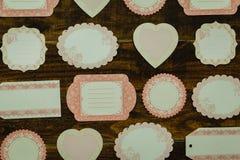 Mooie lege giftkaarten met verschillende vormen Stock Foto's