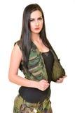 Mooie legervrouw Stock Foto's