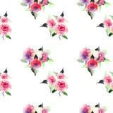 Mooie leuke bloemen kruiden schitterende prachtige prachtige de lente kleurrijke roze en rode rozen met de waterverf van het blad Royalty-vrije Stock Afbeeldingen