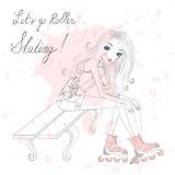 Mooie, leuke meisjeszitting en bandschoenveters op rolschaatsen Royalty-vrije Stock Fotografie