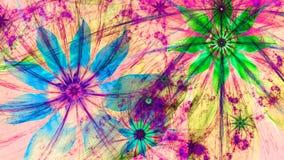 Mooie levendig gekleurde moderne bloemachtergrond in groene, roze, blauwe, gele kleuren stock illustratie