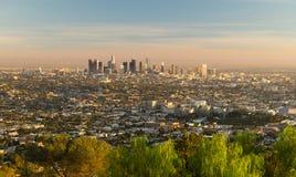 Mooie Lichte de Stadshorizon Van de binnenstad Stedelijke Metropol van Los Angeles Royalty-vrije Stock Foto