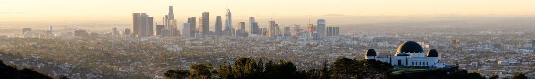 Mooie Lichte de Stadshorizon Van de binnenstad Stedelijke Metropol van Los Angeles Royalty-vrije Stock Afbeeldingen