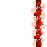 Mooie liefdeachtergrond met rode streep, installatiepatroon en harten stock illustratie