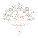 Mooie Liefdekaart in uitstekende stijl Een vectorillustratie Valentine-de prentbriefkaar van de dagkaart Royalty-vrije Stock Afbeelding