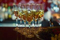 Mooie lijn van verschillende gekleurde alcoholcocktails met rook op een een een een Kerstmispartij, tequila, martini, wodka, en a Stock Afbeeldingen
