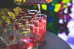Mooie lijn van verschillende gekleurde alcoholcocktails met rook op een een een een Kerstmispartij, tequila, martini, wodka, en a Royalty-vrije Stock Afbeelding