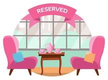 Mooie lijst in de koffie voor twee mensen dichtbij het panoramische venster die de stad overzien Op de lijst zijn er twee roze ko royalty-vrije illustratie
