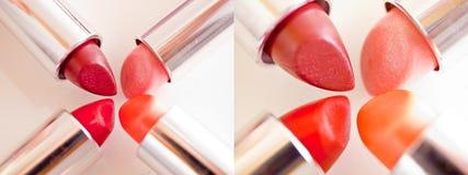 Mooie lippenstiften - reeks samenstellingsschoten Royalty-vrije Stock Afbeelding