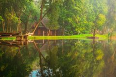 mooie Litouwse aard, toneelmeerlandschap stock afbeeldingen