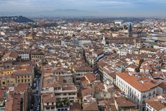 Mooie luchtmening van Florence van het observatieplatform Duomo, Kathedraal Santa Maria del Fiore Stock Foto