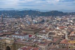 Mooie luchtmening van Florence van het observatieplatform Duomo, Kathedraal Santa Maria del Fiore Stock Afbeeldingen