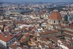 Mooie luchtmening van Florence van het observatieplatform Duomo, Kathedraal Santa Maria del Fiore Royalty-vrije Stock Afbeeldingen