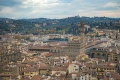 Mooie luchtmening van Florence van het observatieplatform Duomo, Kathedraal Santa Maria del Fiore Royalty-vrije Stock Fotografie