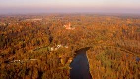 Mooie luchtochtendmening van de gouden herfst in Sigulda, Letland stock video