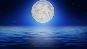 Mooie maan op overzees, beste lijn videoachtergrond voor het ontspannen en het kalmeren stock videobeelden