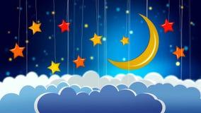 Mooie maan, sterren en wolken, beste videoachtergrond om een baby aan slaap, het kalmerende ontspannen te zetten vector illustratie