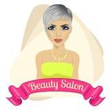 Mooie maniervrouw achter lint met de tekst van de schoonheidssalon Royalty-vrije Stock Foto's