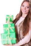 Mooie maniervrouw met dozengiften Verjaardag Stock Fotografie