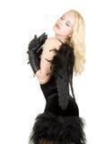 Mooie mannequin met donkere engelenvleugels Royalty-vrije Stock Foto's