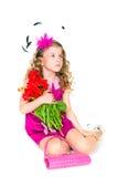 Mooie meisje en tulpen Stock Foto