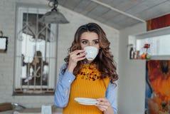 Mooie meisje het drinken thee Royalty-vrije Stock Foto