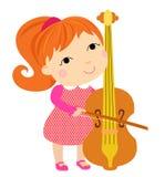 Mooie meisje het spelen cello vector illustratie