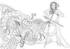 Mooie meisje het spelen cello met abstracte muziekgolf en nota's voor ontwerpelement en kleurende boekpagina Vector illustratie vector illustratie