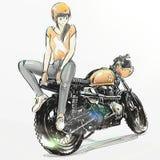Mooie meisjes berijdende motorfiets Stock Fotografie