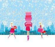 Mooie meisjes bij de winter het winkelen stock illustratie